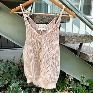 Olivaceous Beige Knit Crop Top Tank Size S
